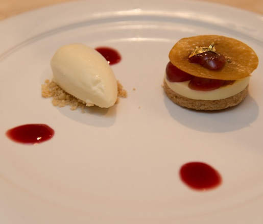 Melilot Ice Cream and Crémeux with Bing Cherries and Salted Butter Biscuit